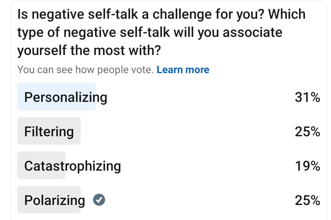 a poll on type of negative self-talk people associate themselves most with